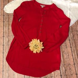 🎉Red Lucky Brand Long Sleeve Blouse🎉